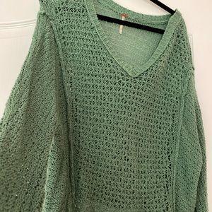 Free People Green sweater